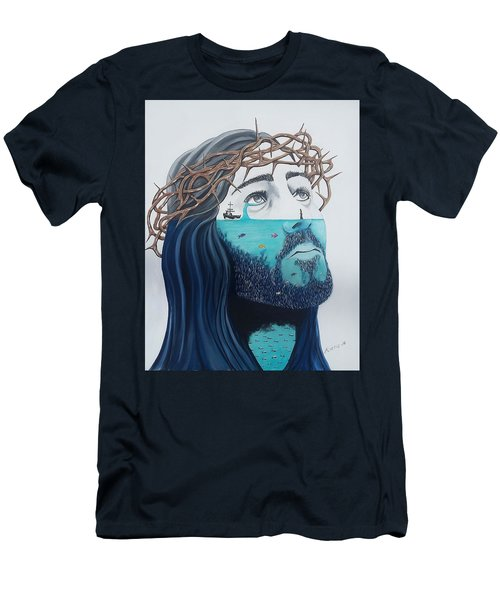 Men's T-Shirt (Slim Fit) featuring the painting Jesus Walks On The Water by Edwin Alverio