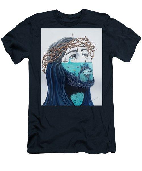 Jesus Walks On The Water Men's T-Shirt (Slim Fit) by Edwin Alverio