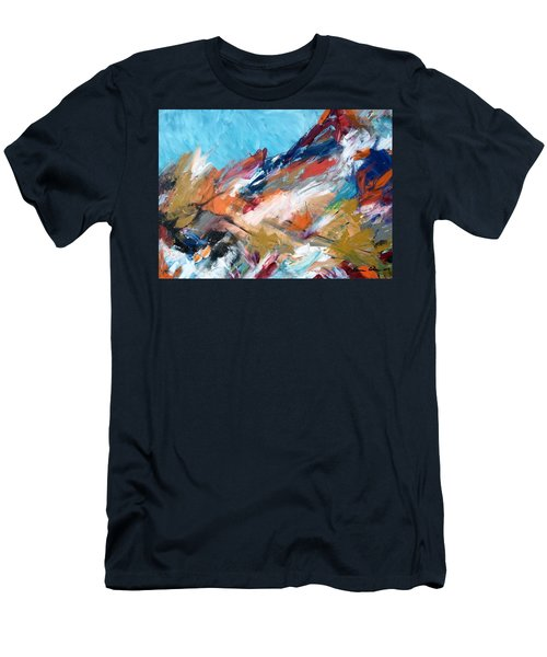 Judean Hill Abstract Men's T-Shirt (Slim Fit) by Esther Newman-Cohen