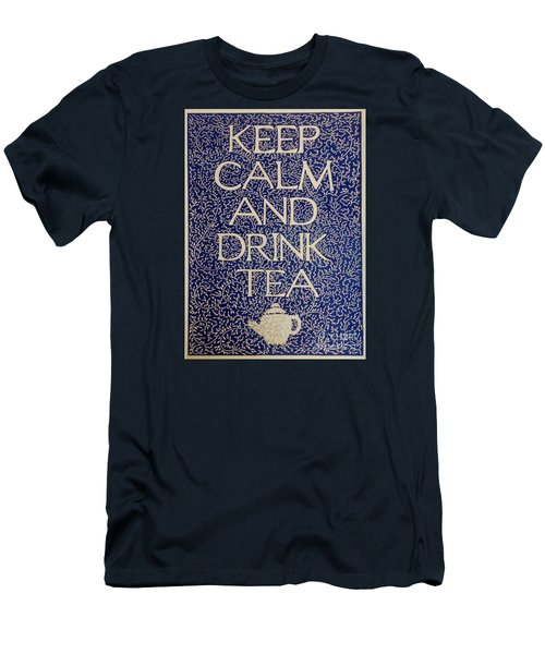 Men's T-Shirt (Slim Fit) featuring the drawing Keep Calm And Drink Tea by Donna Huntriss