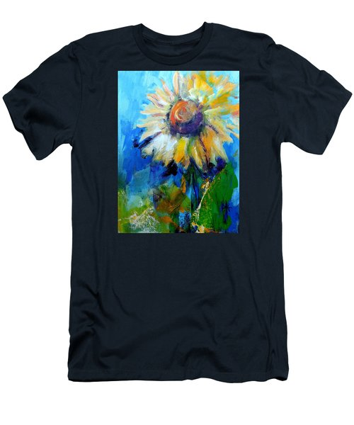 Men's T-Shirt (Slim Fit) featuring the painting Kellie's Sunflower by Jodie Marie Anne Richardson Traugott          aka jm-ART