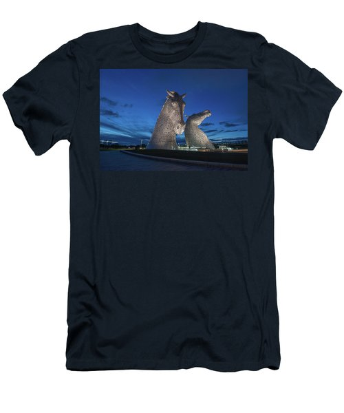 Men's T-Shirt (Slim Fit) featuring the photograph Kelpies  by Terry Cosgrave