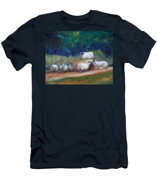 Men's T-Shirt (Slim Fit) featuring the painting King Of Green Hill Farm by Donna Tuten