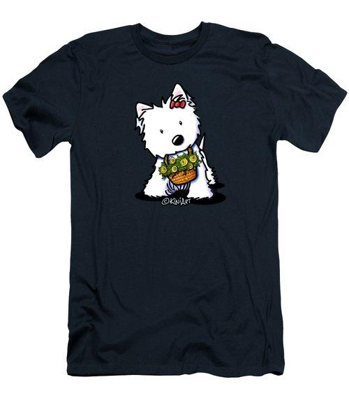 Kiniart Flower Basket Westie Men's T-Shirt (Athletic Fit)