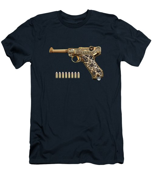 Krieghoff Presentation P.08 Luger With Ammo Over Blue Velvet  Men's T-Shirt (Athletic Fit)