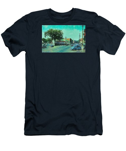 Men's T-Shirt (Slim Fit) featuring the photograph Laconia N H Colored Pencil by Mim White