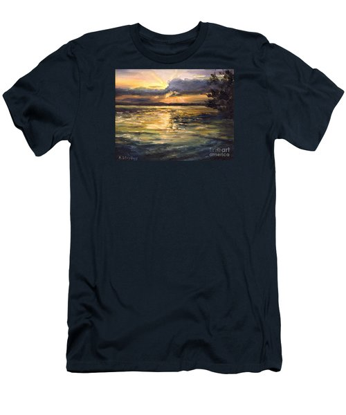 Men's T-Shirt (Slim Fit) featuring the painting Lake by Arturas Slapsys