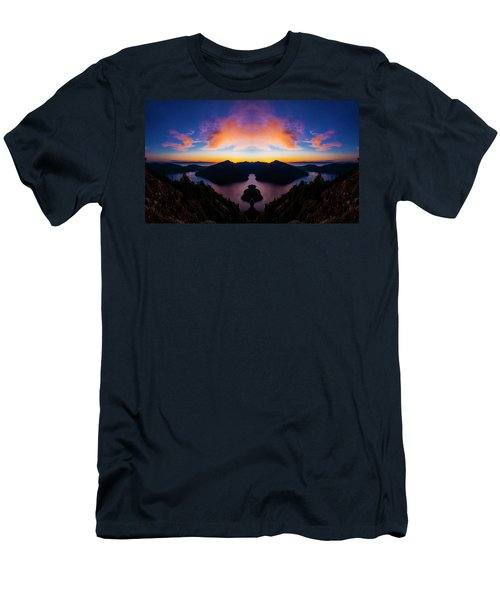 Lake Crescent Reflection Men's T-Shirt (Slim Fit) by Pelo Blanco Photo