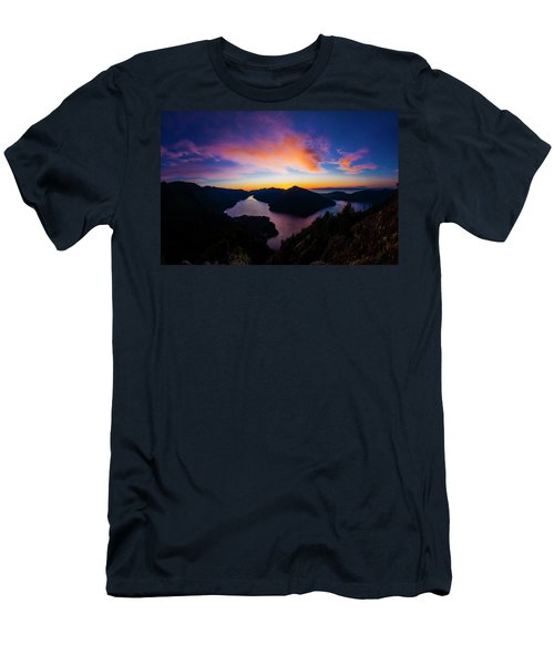 Lake Crescent Sunset Men's T-Shirt (Slim Fit) by Pelo Blanco Photo