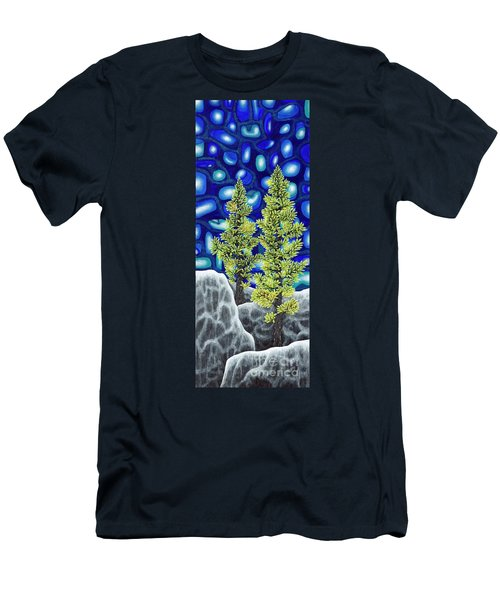 Men's T-Shirt (Slim Fit) featuring the painting Larch Dreams 1 by Rebecca Parker