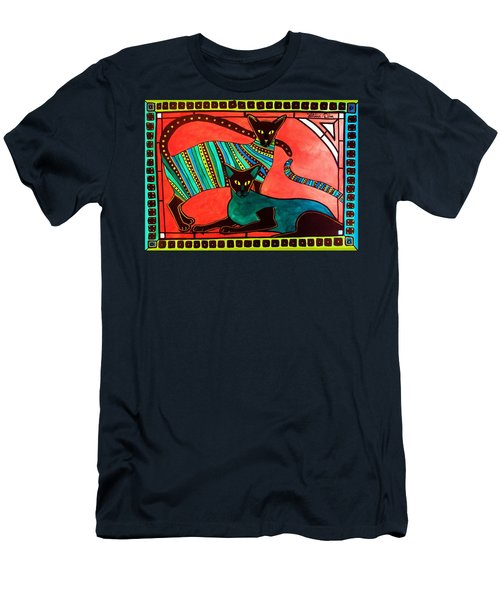 Legend Of The Siamese - Cat Art By Dora Hathazi Mendes Men's T-Shirt (Slim Fit) by Dora Hathazi Mendes