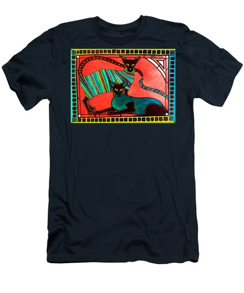 Legend Of The Siamese - Cat Art By Dora Hathazi Mendes Men's T-Shirt (Athletic Fit)