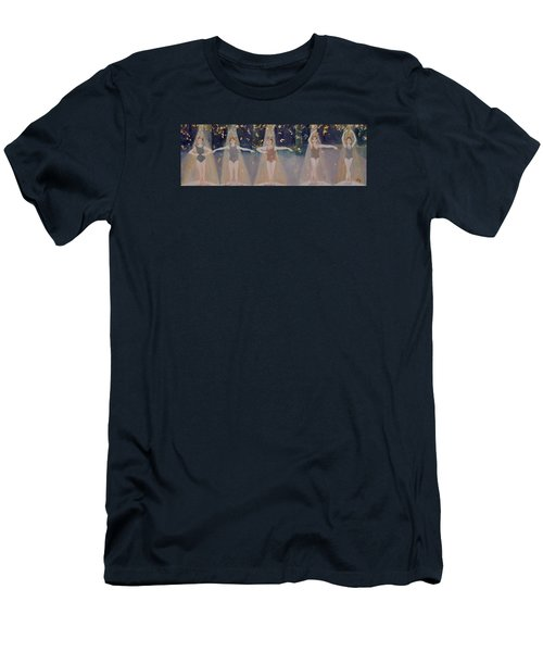 Men's T-Shirt (Slim Fit) featuring the painting Les Cinq Positions by Julie Todd-Cundiff