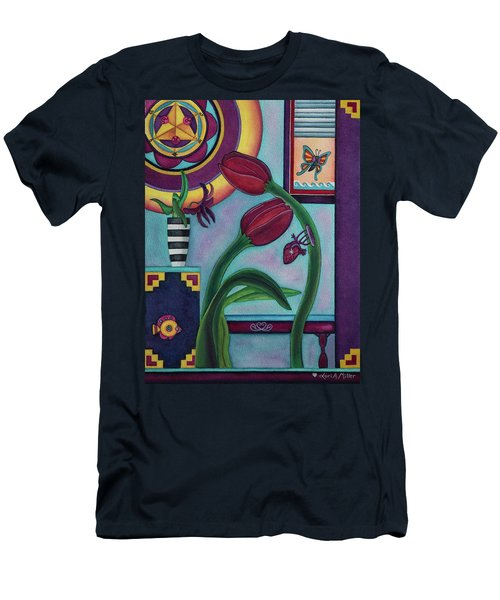 Men's T-Shirt (Slim Fit) featuring the painting Lifting And Loving Each Other by Lori Miller