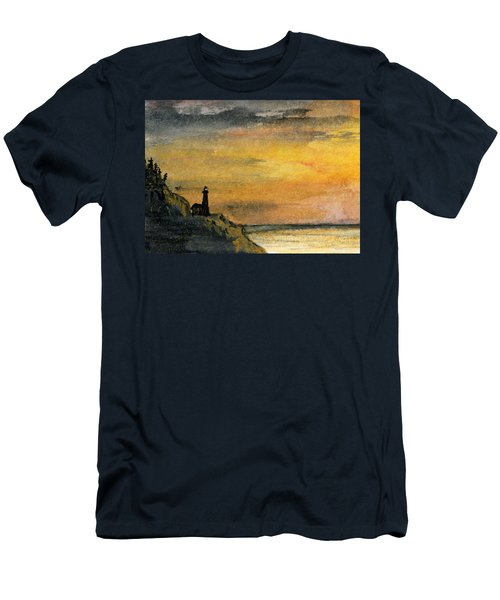 Lighthouse Oversees Coast Men's T-Shirt (Slim Fit) by R Kyllo