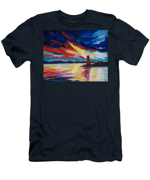 Men's T-Shirt (Slim Fit) featuring the painting Lighthouse Storm by Leslie Allen