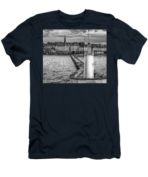 Men's T-Shirt (Athletic Fit) featuring the photograph Lighthouse Walkway by Elf Evans