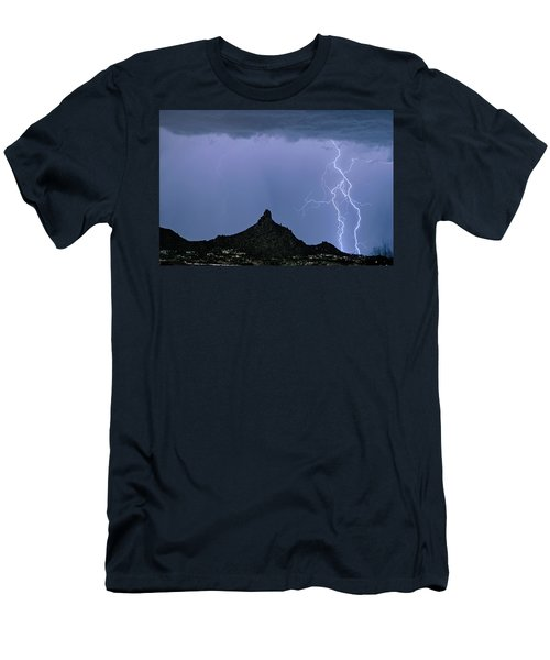 Men's T-Shirt (Slim Fit) featuring the photograph Lightning Bolts And Pinnacle Peak North Scottsdale Arizona by James BO Insogna