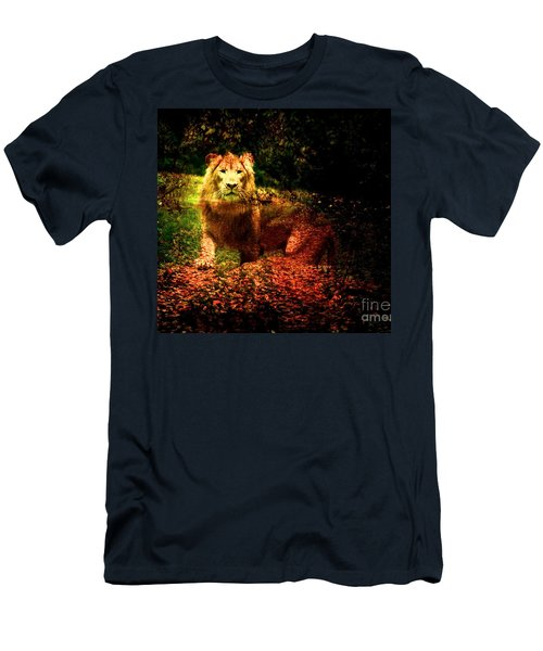 Men's T-Shirt (Slim Fit) featuring the photograph Lion In The Wilderness by Annie Zeno