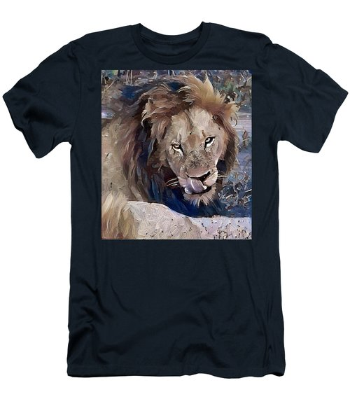 Lion With Tongue Men's T-Shirt (Athletic Fit)