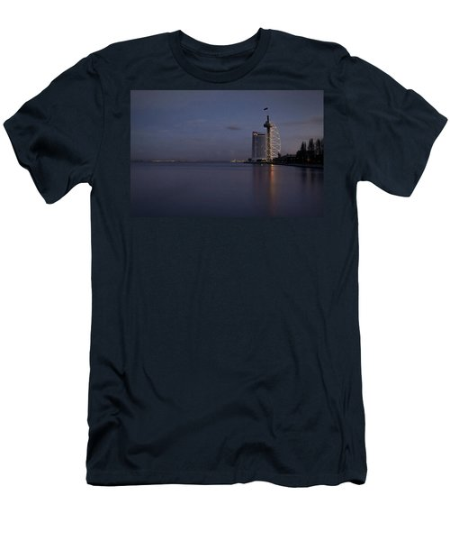 Lisbon Night Scene Men's T-Shirt (Slim Fit) by Marion McCristall