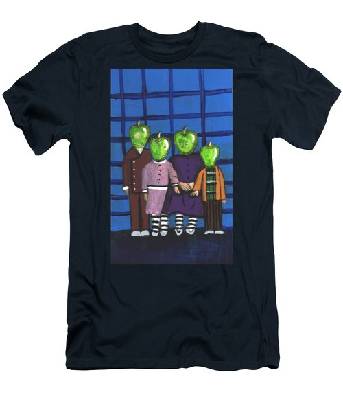 Little Green Apple Head Kids Men's T-Shirt (Athletic Fit)