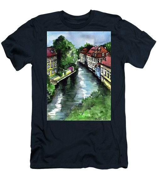 Men's T-Shirt (Athletic Fit) featuring the painting Little Venice In Prague Certovka Canal by Dora Hathazi Mendes