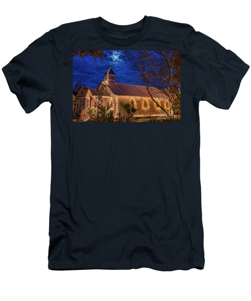 Men's T-Shirt (Slim Fit) featuring the photograph Little Village Church With Star From Heaven Above The Steeple by Bonnie Barry