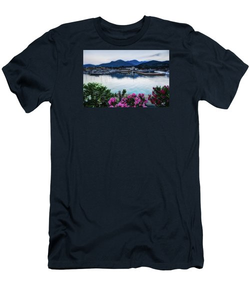 Loano Sunset Over Sea And Mountains With Flowers Men's T-Shirt (Athletic Fit)