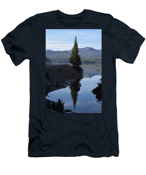 Men's T-Shirt (Athletic Fit) featuring the photograph Lone Pine Reflection Chambers Lake Hwy 14 Co by Margarethe Binkley