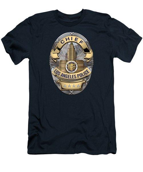 Los Angeles Police Department  -  L A P D  Chief Badge Over Blue Velvet Men's T-Shirt (Slim Fit) by Serge Averbukh