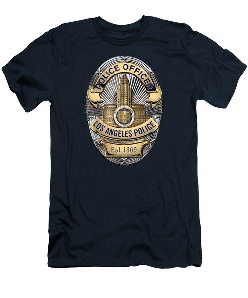 Los Angeles Police Department  -  L A P D  Police Officer Badge Over Blue Velvet Men's T-Shirt (Slim Fit) by Serge Averbukh
