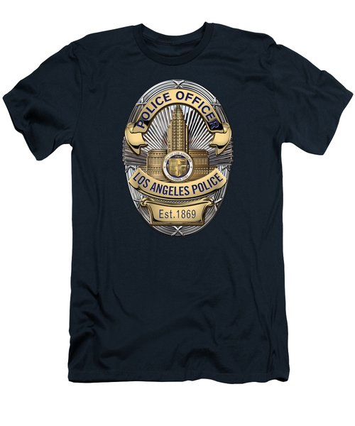 Los Angeles Police Department  -  L A P D  Police Officer Badge Over Blue Velvet Men's T-Shirt (Athletic Fit)