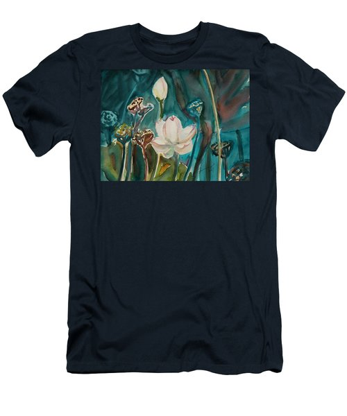 Men's T-Shirt (Slim Fit) featuring the painting Lotus Study I by Xueling Zou