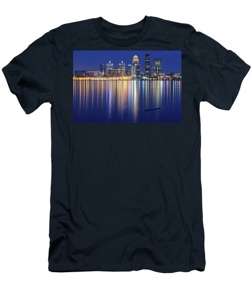 Louisville During Blue Hour Men's T-Shirt (Slim Fit) by Frozen in Time Fine Art Photography