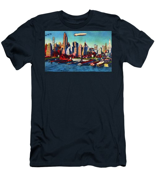 Lower Manhattan Skyline New York City Men's T-Shirt (Athletic Fit)