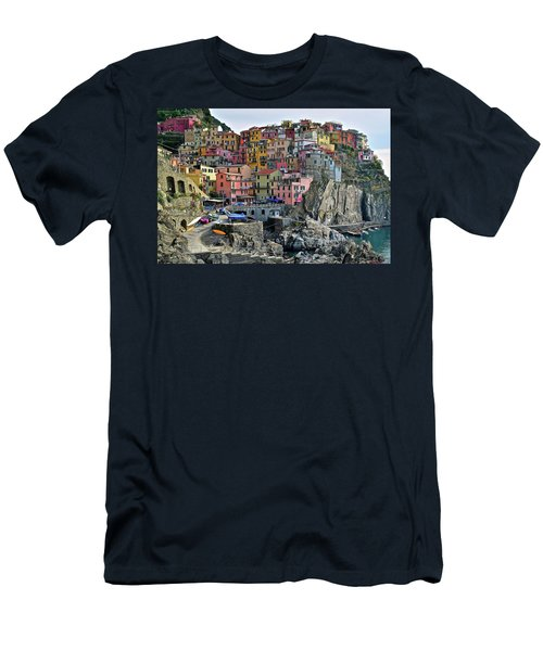 Men's T-Shirt (Slim Fit) featuring the photograph Manarola Cinque Terre Italy by Frozen in Time Fine Art Photography