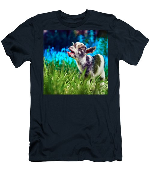 Baby Goat Kid Singing Men's T-Shirt (Athletic Fit)