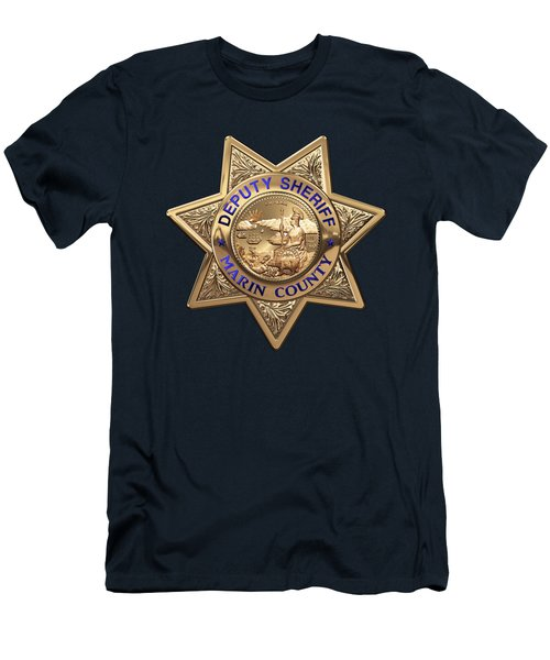 Men's T-Shirt (Slim Fit) featuring the digital art Marin County Sheriff's Department - Deputy Sheriff's Badge Over Blue Velvet by Serge Averbukh
