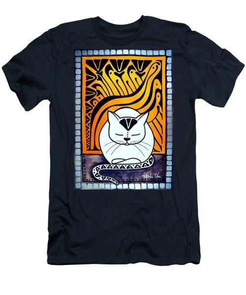 Meditation - Cat Art By Dora Hathazi Mendes Men's T-Shirt (Slim Fit) by Dora Hathazi Mendes