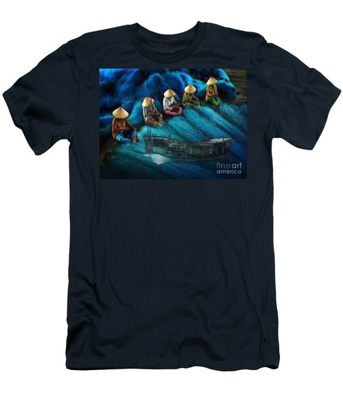 Men's T-Shirt (Slim Fit) featuring the painting Mekong Weavers by Mojo Mendiola