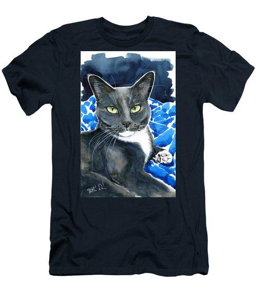 Melo - Blue Tuxedo Cat Painting Men's T-Shirt (Athletic Fit)