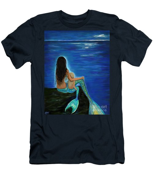Men's T-Shirt (Athletic Fit) featuring the painting Mermaid And Her Daughter by Leslie Allen