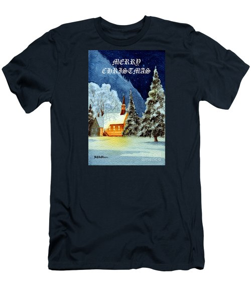 Merry Christmas Card Yosemite Valley Chapel Men's T-Shirt (Slim Fit) by Bill Holkham