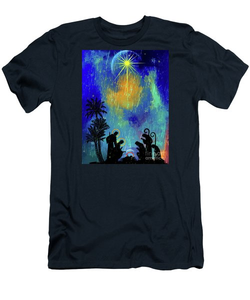 Men's T-Shirt (Slim Fit) featuring the painting  Merry Christmas To All. by Andrzej Szczerski