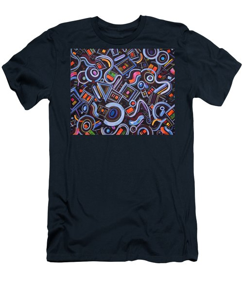 Men's T-Shirt (Slim Fit) featuring the painting Metrimorphic Lll by Lynda Lehmann