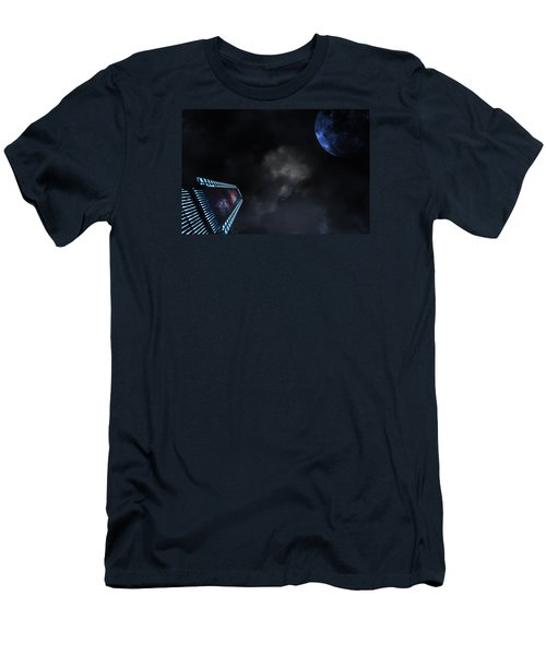 Micro Chips In Outer Space On The Way To Planets Men's T-Shirt (Slim Fit) by Christian Lagereek