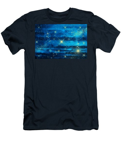 Midnight Blue Sky With Stars Men's T-Shirt (Athletic Fit)