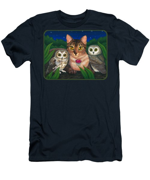 Men's T-Shirt (Athletic Fit) featuring the painting Midnight Watching - Abyssinian Cat Saw Whet Owls by Carrie Hawks