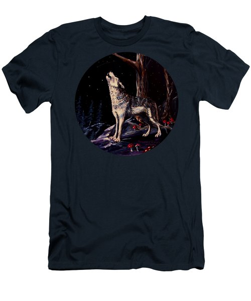 Midnight Wolf Men's T-Shirt (Slim Fit) by Ruanna Sion Shadd a'Dann'l Yoder